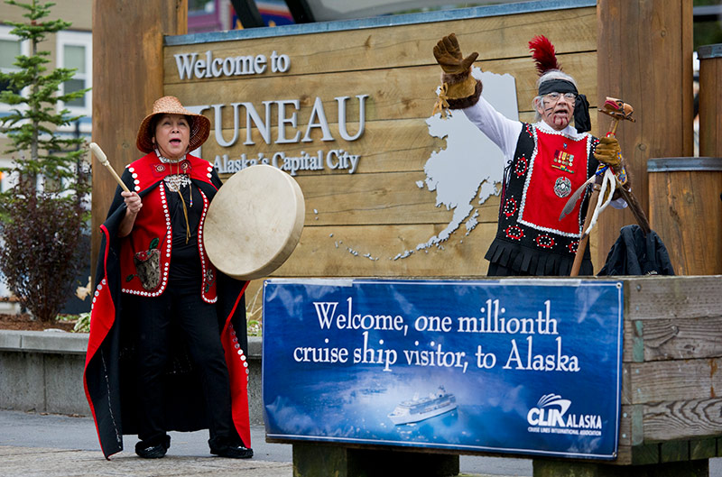 Members of the Yees Ku Oo dance group sang and pounded drums as the millionth cruise passenger was welcomed to Alaska.