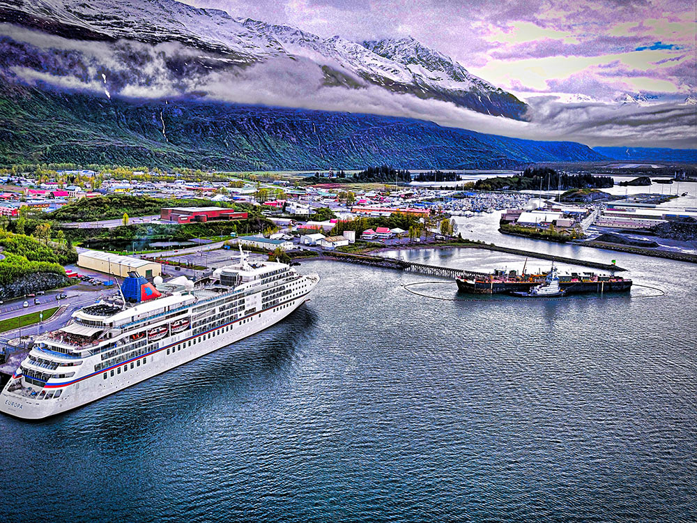 The MS Europa at the Kelsey Dock in Valdez