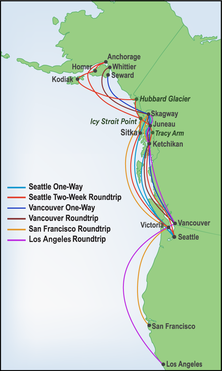 Map of cruise routes in Alaska